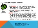 lead interesting opening