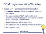 ddm implementation timeline