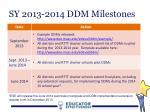 sy 2013 2014 ddm milestones