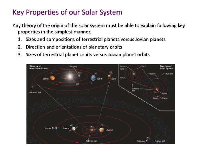 Key propertie s of our solar system