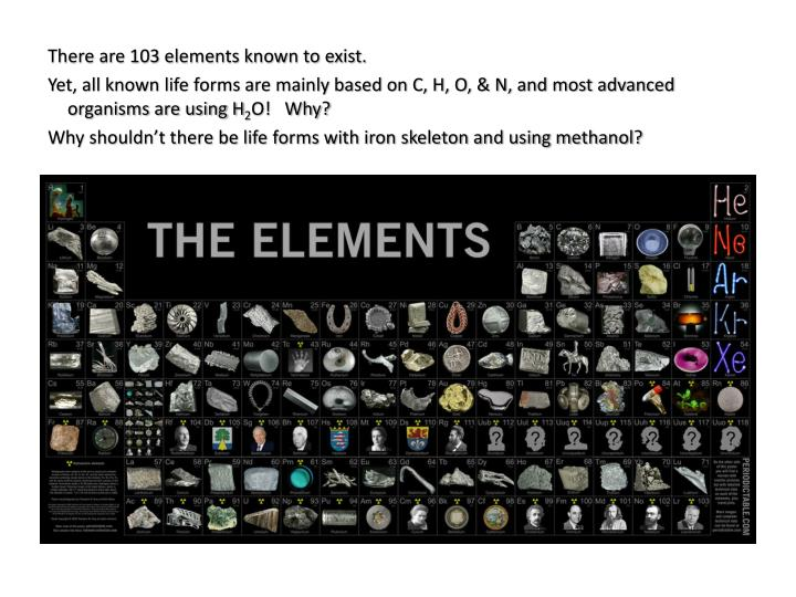 There are 103 elements known to exist.