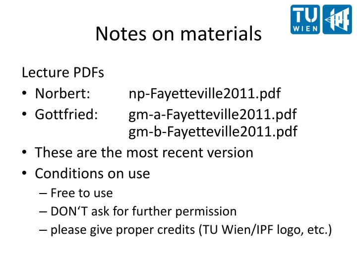 Notes on materials