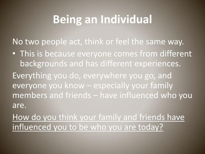 Being an Individual