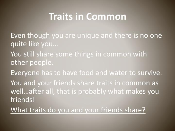 Traits in Common