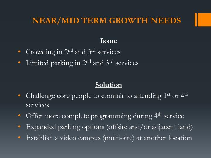 Near/mid term growth needs