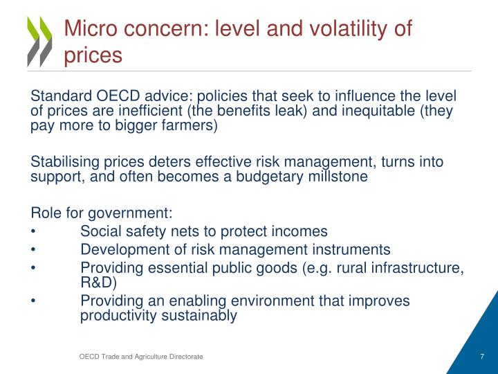 Micro concern: level and volatility of prices