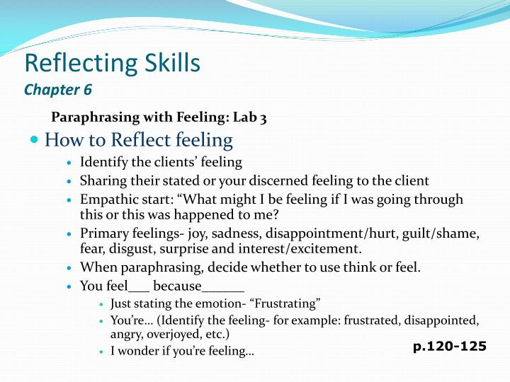 Reflecting skills chapter 6