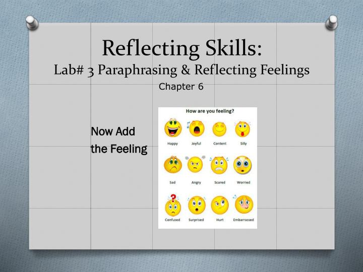 Reflecting skills lab 3 paraphrasing reflecting feelings