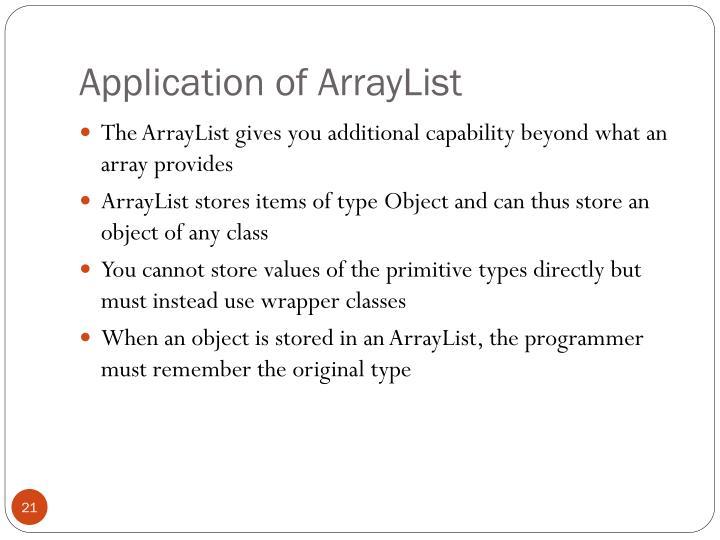 Application of ArrayList