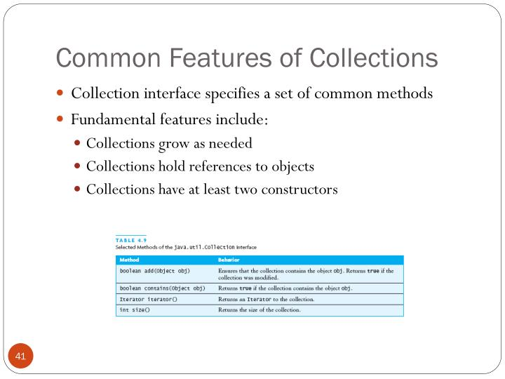 Common Features of Collections