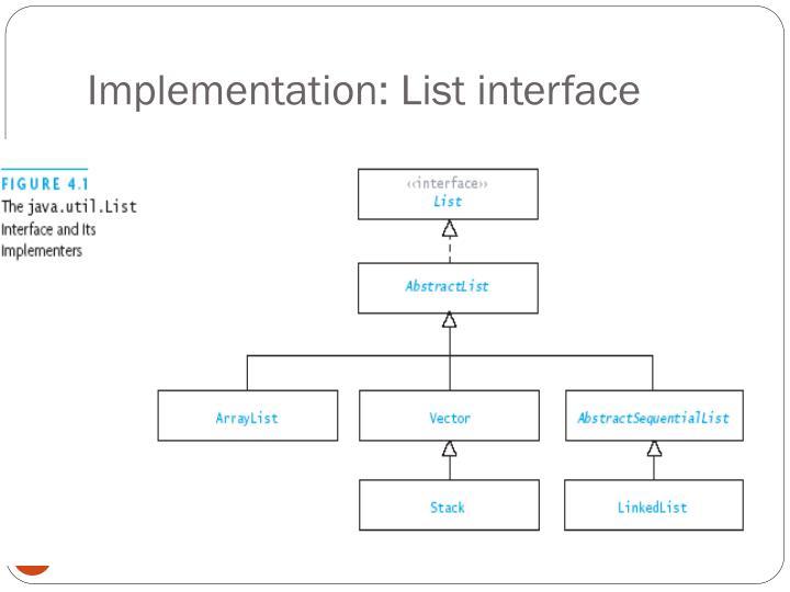 Implementation: List interface