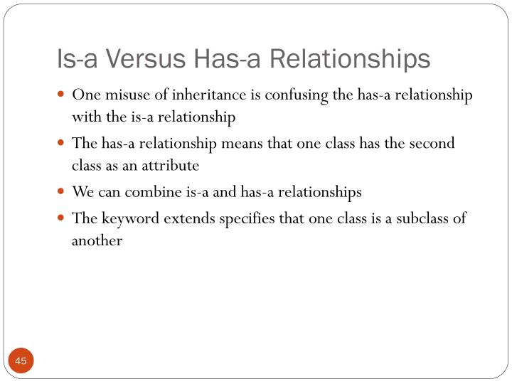 Is-a Versus Has-a Relationships
