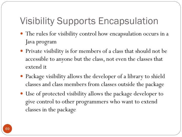 Visibility Supports Encapsulation