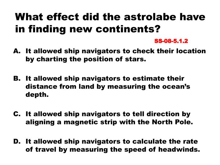 What effect did the astrolabe have in finding new continents?