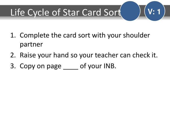 Life Cycle of Star Card Sort