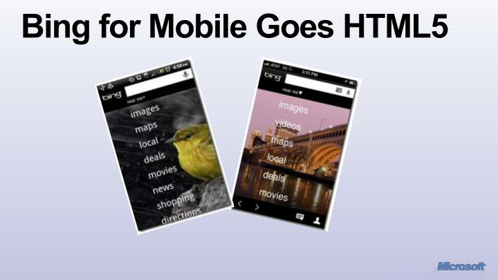 Bing for Mobile Goes HTML5