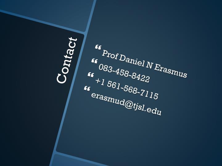 Prof Daniel N Erasmus