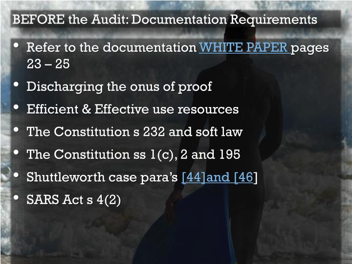 BEFORE the Audit: Documentation Requirements