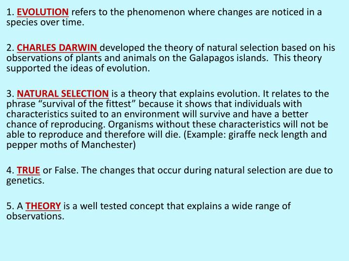Evolution study guide answers
