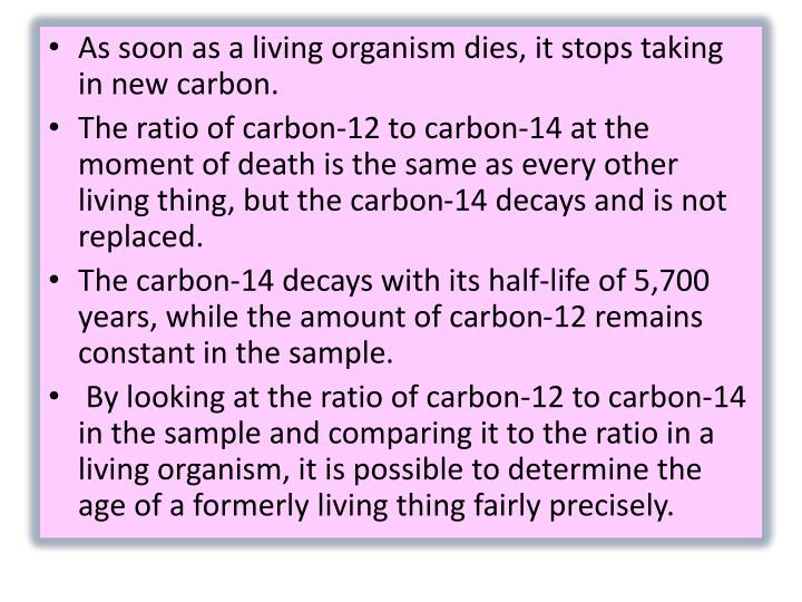 ­As soon as a living organism dies, it stops taking in new carbon.