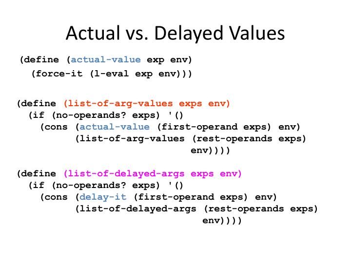 Actual vs. Delayed Values