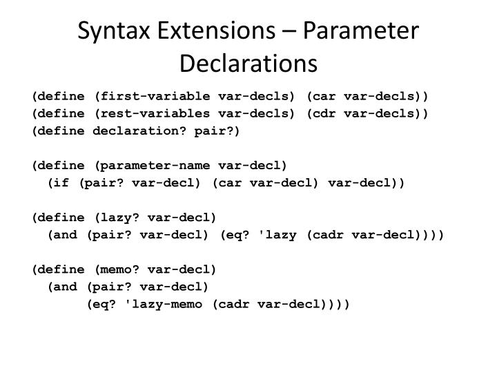 Syntax Extensions – Parameter Declarations