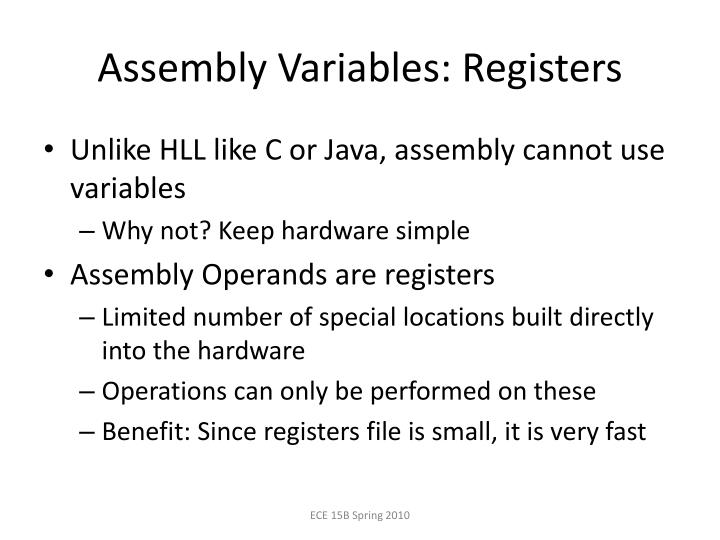Assembly Variables: Registers