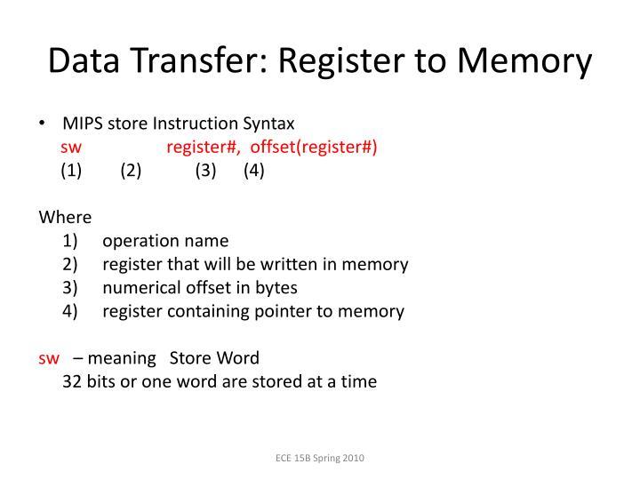 Data Transfer: Register to Memory