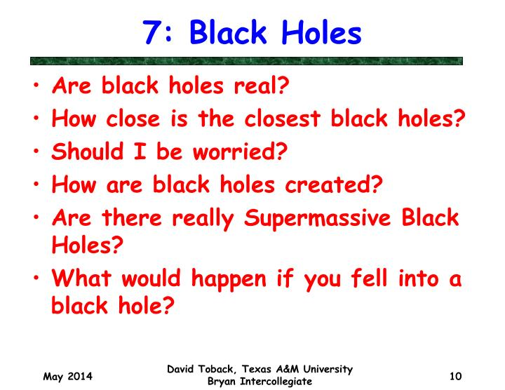 7: Black Holes