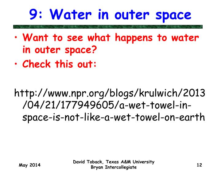 9: Water in outer space