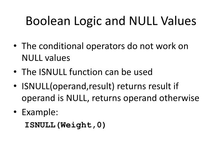 Boolean Logic and NULL Values