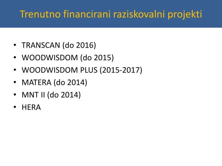 Trenutno financirani raziskovalni projekti