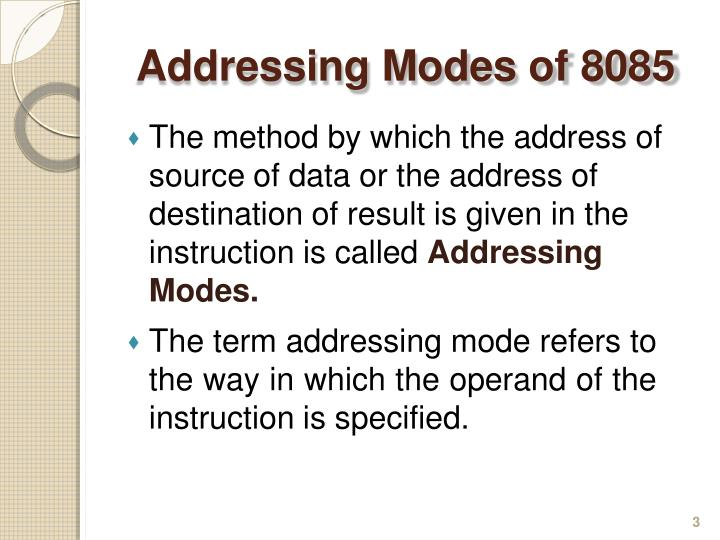 Ad d ressing modes of 80851