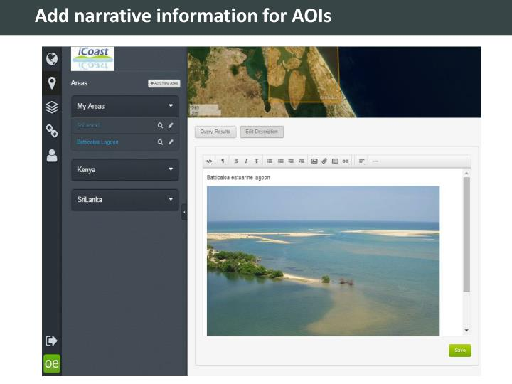 Add narrative information for AOIs