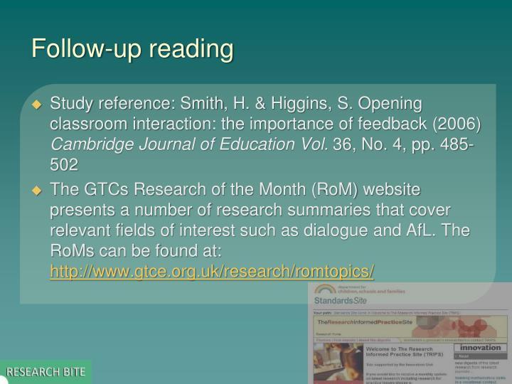 Follow-up reading