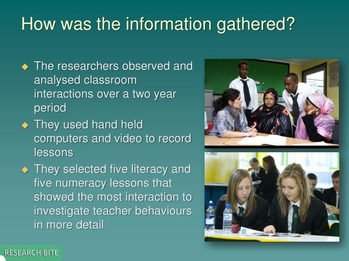 How was the information gathered?