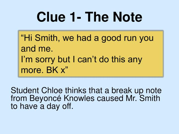 Clue 1 the note