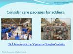 consider care packages for soldiers