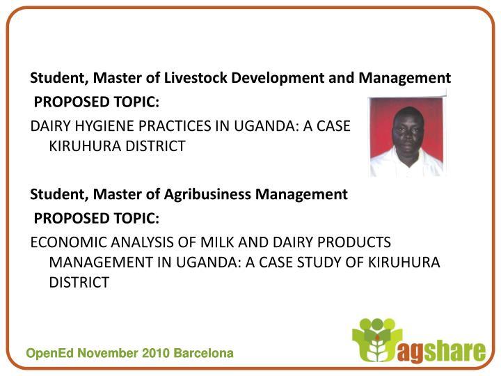 Student, Master of Livestock Development and Management