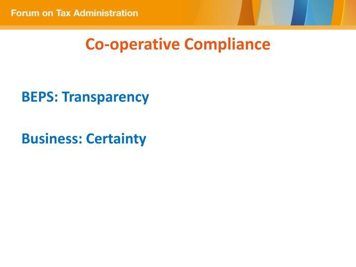Co operative compliance