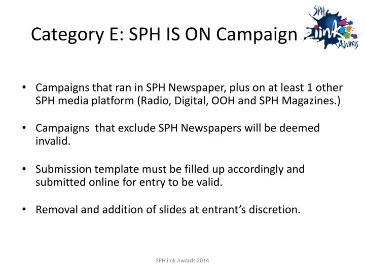 Category e sph is on campaign