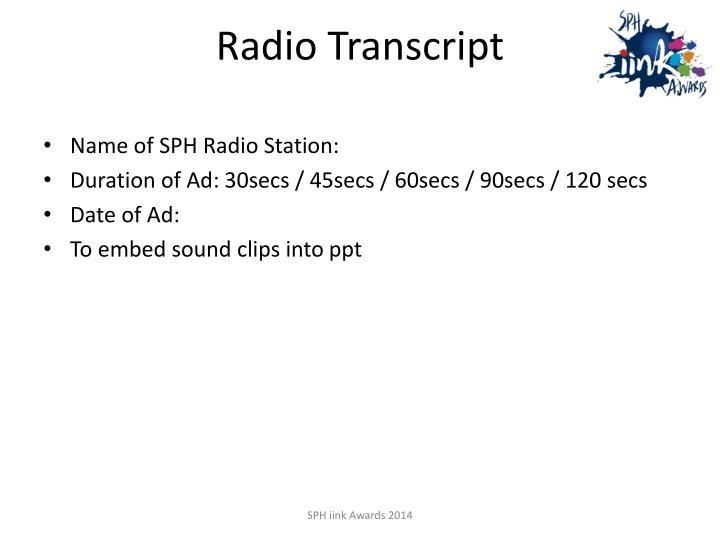 Radio Transcript