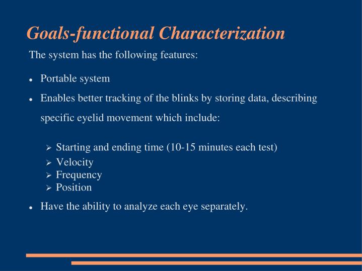 Goals-functional Characterization