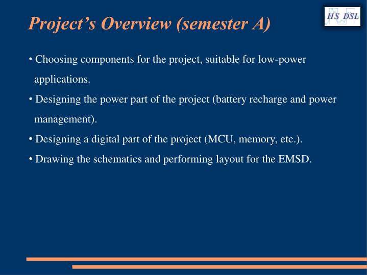 Project's Overview (semester A)