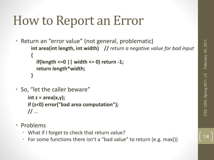 How to Report an Error