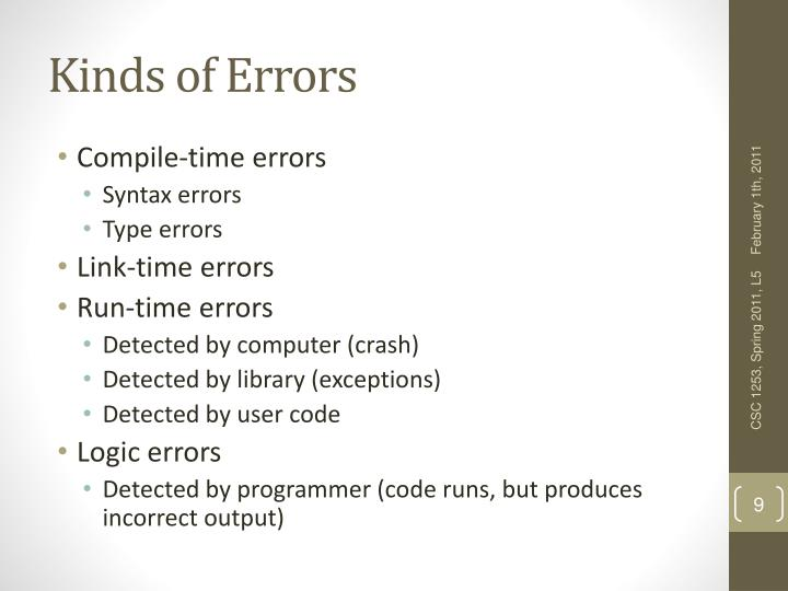Kinds of Errors