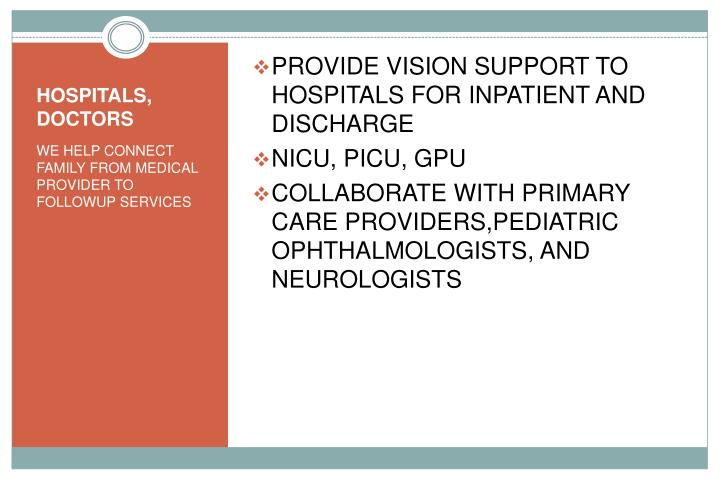 PROVIDE VISION SUPPORT TO HOSPITALS FOR INPATIENT AND DISCHARGE