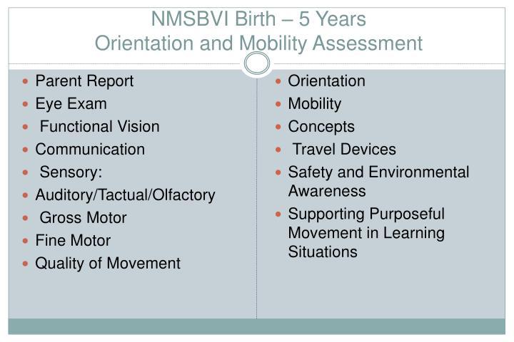 NMSBVI Birth – 5 Years