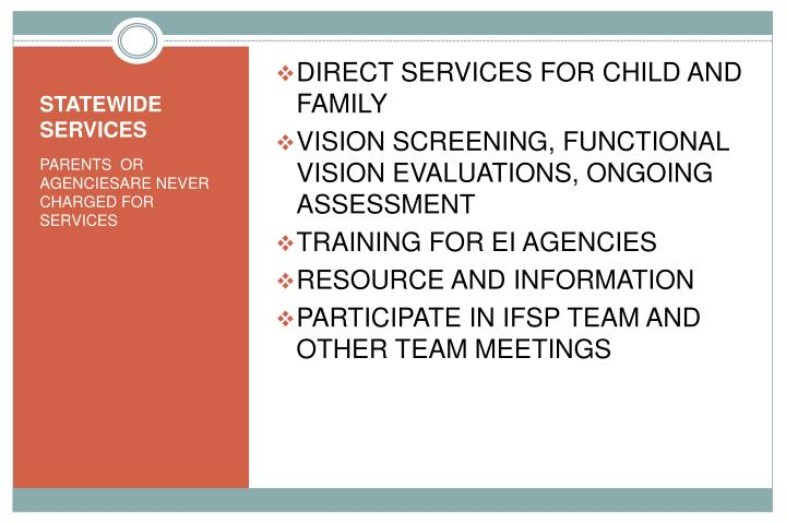 DIRECT SERVICES FOR CHILD AND FAMILY