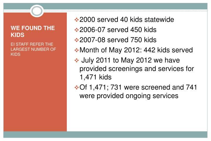 2000 served 40 kids statewide